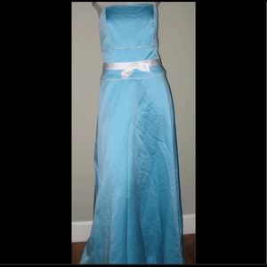 Alfred Angelo Pool Blue/Ivory Prom Wedding Dress